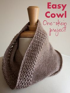 Easy Lace Cowl | HeatherInk Metalico Cowl PDF Knitting Pattern