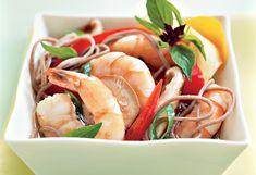 Basil-Steamed Shrimp over Buckwheat Soba Noodles #oprah
