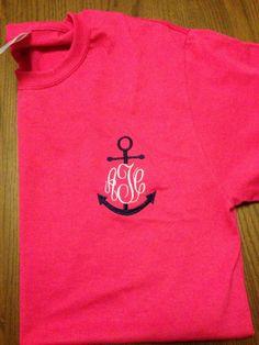 Anchor Monogrammed T-Shirt - Short Sleeves. $25.00, via Etsy.