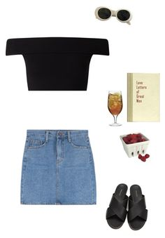 """summer, the part of the year I live off fruits and iced tea only and I go to sleep at 5 am"" by bsxis ❤ liked on Polyvore featuring Miss Selfridge, Acne Studios and Luigi Bormioli"
