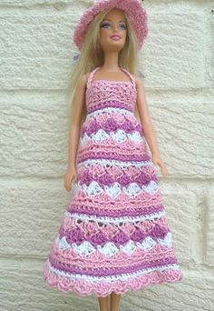Lyn's Dolls Clothes: Barbie crochet summer dress and hat