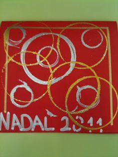 Taps de difrents mides i témpera daurada i platejada / card - let even the smaller kids join in