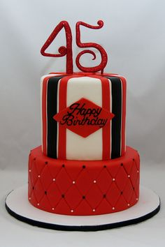 red, white and black 45th birthday cake