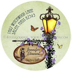 victorian lamp address label...beautiful