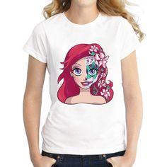 Princess Ariel the Little Mermaid / Sugar Skull on a Women or Mens (PLUS SIZE) T-Shirt