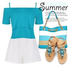 """Turquoise Summer Outfit 1856"" by boxthoughts ❤ liked on Polyvore featuring New Directions, OLIVIA MILLER, TIBI and WearAll"