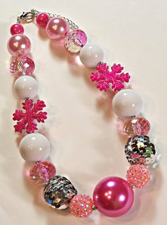 Hot Pink Snowflake Girls Chunky Big Beads by HauteTottiesBling