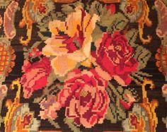 Bessarabian kilim,Oriental rug, from Moldova,Flat woven rug,rose kilim rug