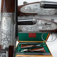 Holland & Holland Shotgun Set: Part II - The second shotgun in this Holland & Holland set is dedicated to the later Apollo missions in 1971 and 1972, where the lunar rover is depicted.  The engraving covers the whole mission – beginning with launching and concluding with a splash-landing. But somehow a little bit of traditional engraving also worked its way into this set – notice the waterfowl flying in the foreground of the Cape Kennedy blastoff scene.