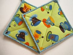 Pot Holders  Coffee and Tea by PatchworkMountain on Etsy, $14.00