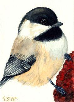 Black-Capped Chickadee Art Print of Watercolor Bird Painting