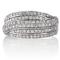 Sterling Silver Cubic Zirconia CZ Woven Women Wedding Bridal Ring available at joyfulcrown.com