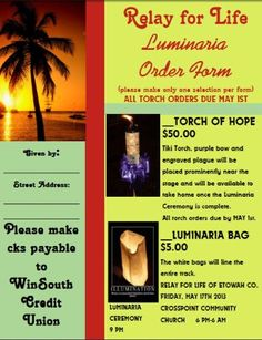 WinSouth supporting Relay For Life in May! Come by any Etowah County Branch and order a torch of hope or luminaria!