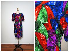 ART DECO Multicolor Sequin Dress / Stained Glass by braxae on Etsy