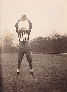 Vintage Antique Photograph Football Player Great Outfit Catching Football 1938