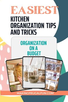 Organization ideas for the home while living a frugal life and saving money. Frugal living tips and ideas for organizing a small kitchen. Enjoy these frugal living tips for kitchen organization in 2021 to help you keep things clean, organized and still cheap. Frugal tips and life hacks for saving money and simple living while still keeping your kitchen organized and pretty. Find tons of DIY small kitchen organization ideas and tips from the dollar store and more. Frugal Tips   Organization…