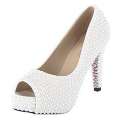 VELCANS Women Pearls High Heel Platform Pumps Sandals Shoes for WeddingProm and  Party 45 BM US Pearls of White     Check out this great product. 049462966882
