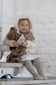 Thigh high KNIT LACE SOCKS Linen lace socks in beige by MarumaKids