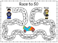 Race to 50.  It's played in pairs and each partner chooses a different color crayon to use.  Taking turns rolling a die (or 2 dice if you're kids are ready for that) the kids color in the number of squares on the game board that matches the number that they've rolled. How fast can they get to 50?  Be prepared for a noisy math time!