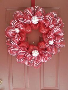 Handmade candy cane deco mesh or silver and white, Candy Cane Wreath for 2013 Christmas, 2013 Christmas Candy Cane Wreath