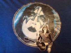 RARE-vintage-Ace-Frehley-KISS-iron-on-70-039-s-t-shirt-owned-amp-worn-by-Wendy-Moore