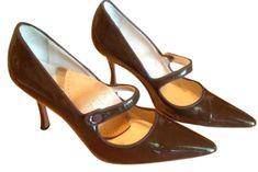 Manolo Blahnik Compari Patent Mary Jane Chocolate Brown Pumps $322