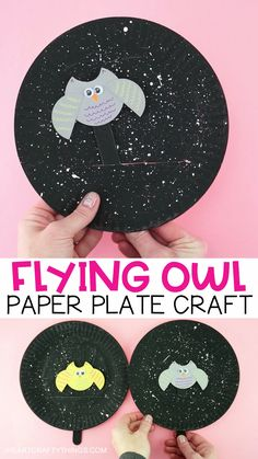 Flying Owl Craft -Fun interactive Fall Paper Plate Craft for Kids! This fun make and play flying owl craft makes a great fall kids craft. Kids will love watching their owl puppet fly around the starry night painted paper plate sky. Paper Plate Crafts For Kids, Paper Crafting, Craft Kids, Craft Art, Bat Craft, Kids Diy, Craft With Paper, Toddler Paper Crafts, Crafts For Children