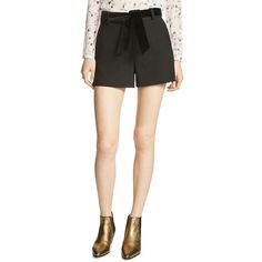 Maje Iparis Belted Shorts (3.320 ARS) ❤ liked on Polyvore featuring shorts, black, belted shorts, pocket shorts and maje