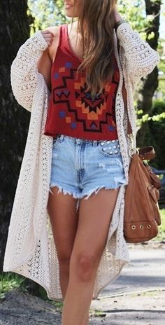 #boho #hippie #long #cardigan #highwaistedshorts #brown #satchel #aztec #printed #crop #vest #womens #fashion #style
