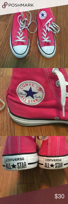 Pink converse all star high tops These shoes are really cute and hardly worn. They have a few flaws as shown in the pictures but are still in very good condition Converse Shoes Sneakers