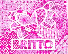 Britto logo in zentangle by Meredith Farrell Zentangles, It Works, Messages, Logo, Drawings, Artwork, Logos, Work Of Art, Auguste Rodin Artwork