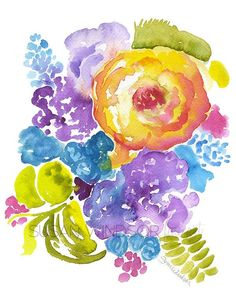Abstract Floral Bouquet watercolor giclée reproduction. Portrait/vertical orientation. Printed on fine art paper using archival pigment inks. This quality printing allows over 100 years of vivid color