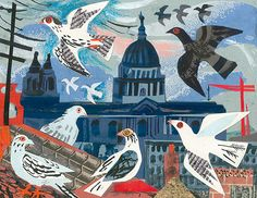 Mark Hearld 'St Paul's Pigeons' collage for St Jude's In The City exhibition in London http://www.stjudesprints.co.uk