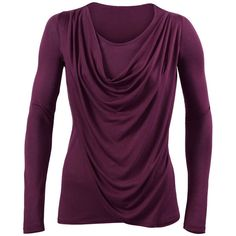Overlay Tee CAbi ❤ liked on Polyvore featuring tops, t-shirts, cabi, tees, long sleeves, slimming tops, slim tee, purple long sleeve top, slim fitted t shirts and slim fit t shirts