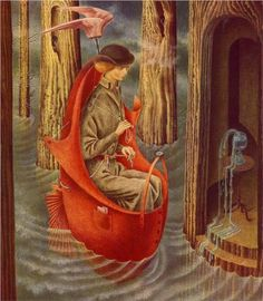 "Remedios Varo - Exploring River of The Source Orinonoco. (I have to wonder if it should be ""Orinoco"" instead but WikiPaintings has it listed as it is, so...)"