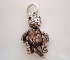 Large Silver Moving Cat Charm by TrueVintageCharms on Etsy