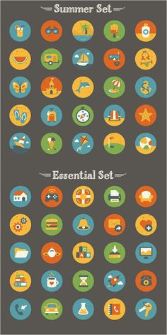 Freebie: Summer And Essentials Icon Set (50 Icons, EPS, AI, PNG)