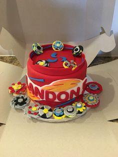 Beyblade Birthday Cake Pan J S Cakes Beyblades Kids I Made - Easybirthdaycake. 9th Birthday Cake, 9th Birthday Parties, Fondant Cupcake Toppers, Cupcake Cakes, Beyblade Cake, Cupcakes, Cake Icing, Cakes And More, Cake Pans
