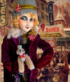 Boudoir doll flapper and her doggie