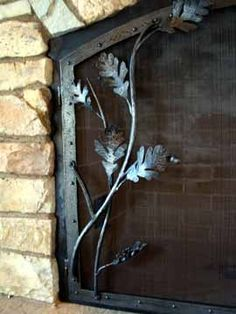 Oak Leaf Fire Screen Forged and Fabricated Steel Blackened Patina… Decorative Fireplace Screens, Wrought Iron Decor, Blacksmith Shop, Forest Design, Laser Cut Metal, Forging Metal, Iron Art, Metal Crafts, Blacksmithing