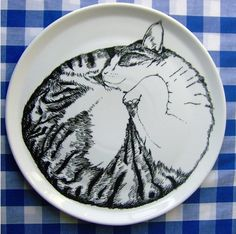 Give it to me! Cat Sleeping Serving Plate by the Amazing Jim Bobart (Hee!) $79