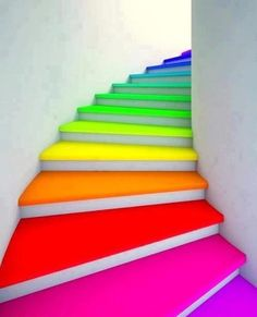 Rainbow coloured curved staircase  #Couleur #Color #Colour
