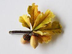 Woodland Brooch Autumn leaves brooch Woodland jewerly Acorn