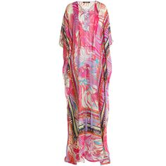 Roberto Cavalli Printed Silk Caftan (25,850 HNL) ❤ liked on Polyvore featuring tops, tunics, dresses, multicolor, lace up top, silk top, colorful crop tops, silk caftan and print crop top