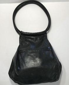 347ed95525d0 Black Leather Hobo Droplet Bag Slouch Handbag Victoria Leather Co Vintage   VictoriaLeatherCo  Hobo Black