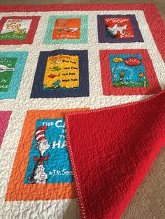 A personal favorite from my Etsy shop https://www.etsy.com/listing/287466547/dr-seuss-quilt