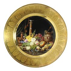 A Sèvres plate from the 'Service marli d'or' circa 1809.