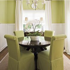 Make a small dining room look larger by keeping the tones and colors monochromatic. (image via southernliving.com)