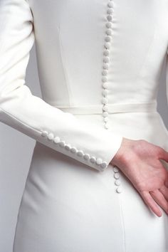 Long sleeve classic minimalist wedding dress Modest covered fit&flare crepe wedding dress Modern gown with train and buttons MONIQUE - long sleeve wedding dress – Monique Crepe Wedding Dress, Classic Wedding Dress, Modest Wedding Dresses, Designer Wedding Dresses, Bridal Dresses, Crepe Dress, Reception Dresses, Wedding Dress Patterns, Dresses Uk