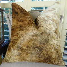 Medium Tri Color  Let your pillow speak your affluence. Gorgeous upscale throw ‪#‎pillow‬ is genuine ‪#‎premium‬ Brazilian cowhide in white and brown colors. Available at $ 189.00